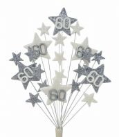 Star age 60th birthday cake topper decoration in silver and white - free postage